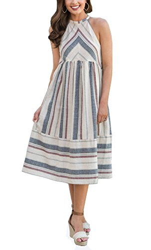 Cashsun Women's Dresses Sleeveless Halter Neck Striped Midi Dress Casual Swing Midi Dress,White (Linen Summer Dress)