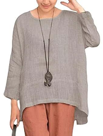 YIhujiuben Women's Top Casual Loose Short Sleeve Cotton and Linen T-Shirts Blouse Gery XXS