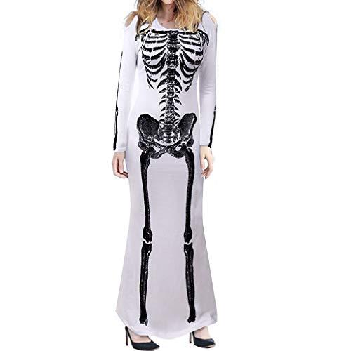 RINKOUa Women's Vintage Dress, Women Halloween Cosplay Costume O-Neck Human Skeleton Print Long Sleeve Dress ()