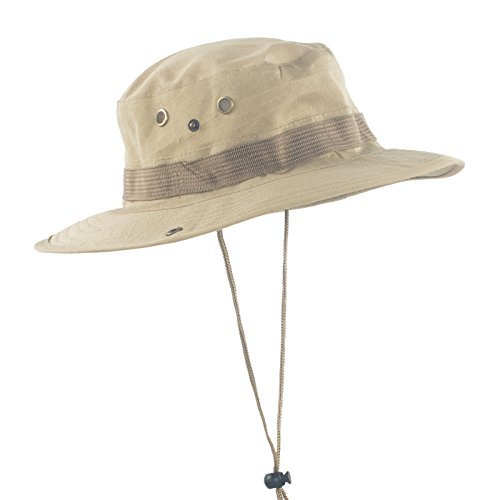 Imported Jungle Hat - Janey&Rubbins Men's Jungle Bush Boonie Caps Bucket Hats (Khaki)