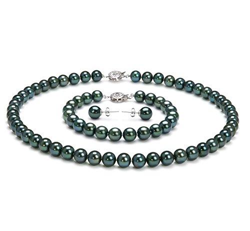 Noir 7.5-8mm AA-qualité Akoya du Japon-un set en perles