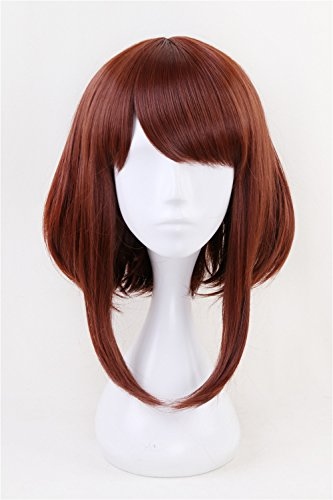 Anime Cosplay Wig Short Brown Bob Christmas Party Wigs with free Cap -