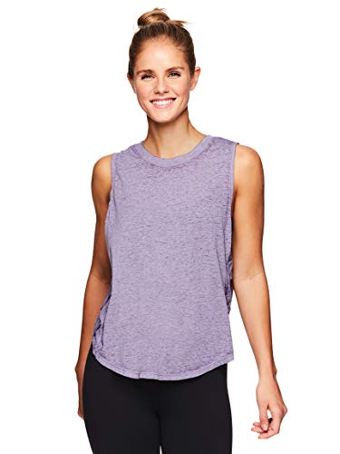 Gaiam Women's Flowy Yoga Tank Top - Sleeveless Performance Workout Shirt w/Strappy Side Detail - Purple Sage, X-Small