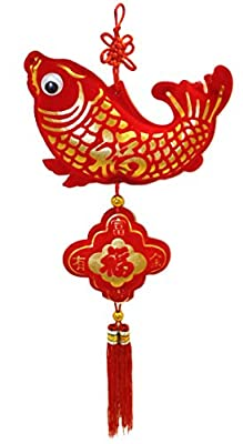 "Lucore 6"" Lucky Fish Chinese Charm Hanging Ornament - Feng Shui Home Decor Decoration Accent"