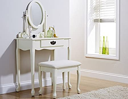 Dressing Table Set Queen Anne Style Ivory Padded Dresser Stool ...