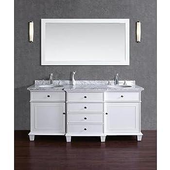 Amazon.com: Stufurhome Cadence White 60 inch Double Sink Bathroom ...