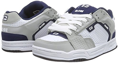 Globe Scribe Blanc Marine Gris Cuir Hommes Skate Baskets Chaussures