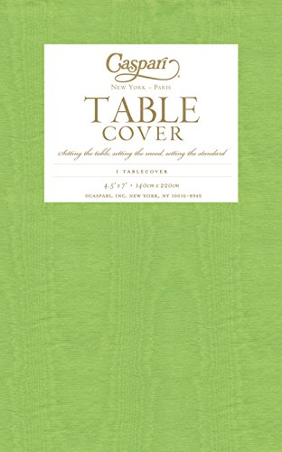 Entertaining with Caspari Moire Printed Paper Table Cover, 54 by 84-Inch, (Green 7' Paper Plates)