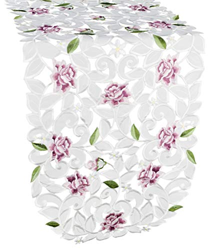 Linens, Art and Things Light Pink Cut Work Roses on Ivory Fabric Table Runner, Dresser Scarf, Coffee Table Runner, Farmhouse, Size 34 x 14 Inch -