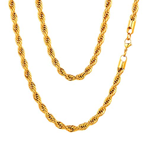 FaithHeart 6MM Twisted Rope Chains, 18K Gold Plated DIY Hip Hop Necklace for Men/Women, Chain for Pendant 18