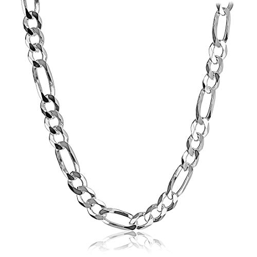 Men's Solid Sterling Silver Figaro Chain Necklace 9mm Italy 24 Inch (Solid Figaro Silver Chain Sterling)