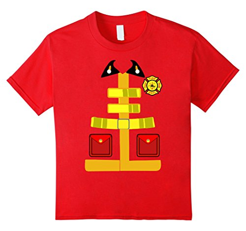 Kids Firefighter Tshirts Funny Halloween Costume For Fireman 8 Red