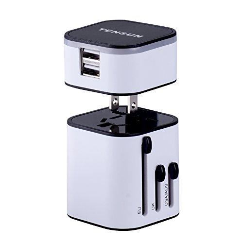 Tensun Travel Plug Adapter International Travel Charger Power AC Socket with Worldwide UK/US/AU/EU/JP Plugs + Detachable Dual USB Ports Max 3.2A for Business Trip