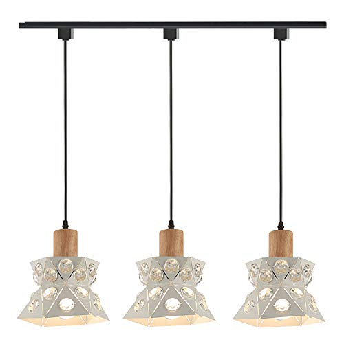 ANYE 3-Lights Chandelier Set for H-Type Track Metal Irregular Polygon Crystal Lampshade Nordic Loft Style Ceiling Lamp Minimalist Retro Pendant Light Bulb Sold Separately