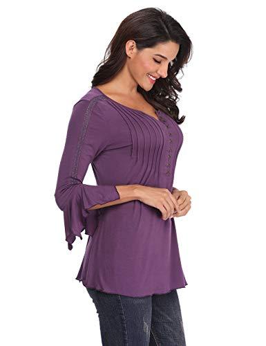 d0c2dac2b1 Jual MISS MOLY Women's Summer Henley Shirts Bell Sleeve Pleated ...