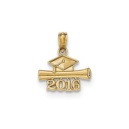 Yellow Gold Graduation Charm (14K Yellow Gold 2016 Graduation Cap and Diploma Charm)