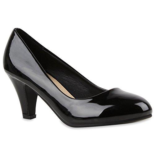Stiefelparadies Damen Klassische Pumps Mid Heels Leder-Optik Elegante Schuhe Glitzer Absatzschuhe Strass Abendschuhe Abiball Flandell Schwarz Lack Berkley