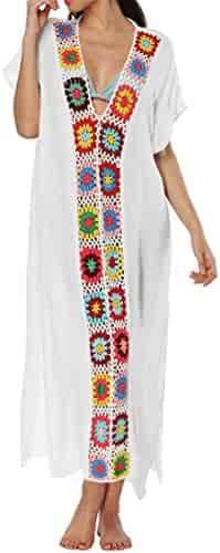 66189e07dd33 OTW-Women Embroidery Short Sleeve V Neck Loose Beach Party Maxi Dress  Sundress
