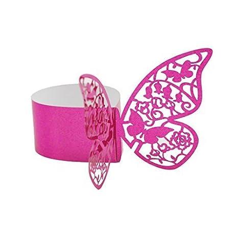 W. Air 50 pcs mariposa redondo de toalla boda banquete mesa toalla hebilla 6 colores - rosa rojo, se référer sobre la descripción: Amazon.es: Hogar