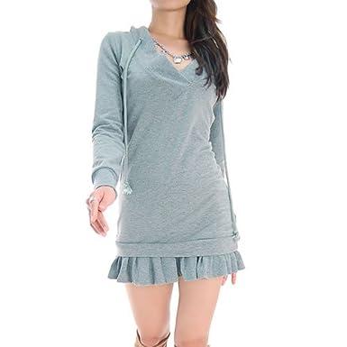 Grey V-Neck Hoodie Sweater Dress