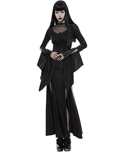 PUNK RAVE Gothic STREGA Abito lungo LUNGHE NERE incrinato ricamato OCCULTO VAMPIRO
