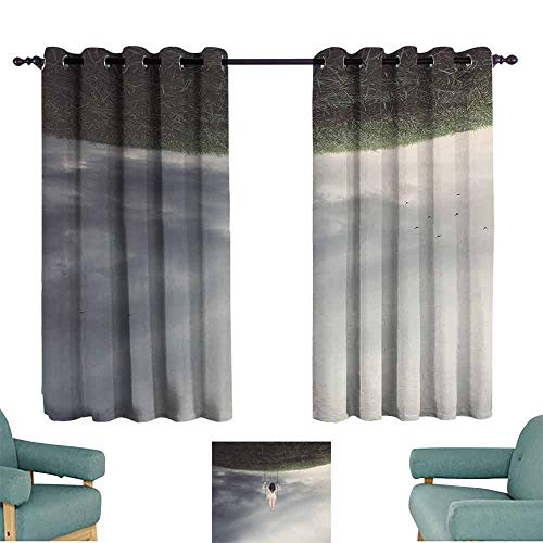 HCCJLCKS Simple Curtain Surrealistic Upside Down World of A Sad Woman on The Swing Depression Picture for Living, Dining, Bedroom (Pair) W55 xL45 Purple Grey Reseda Green