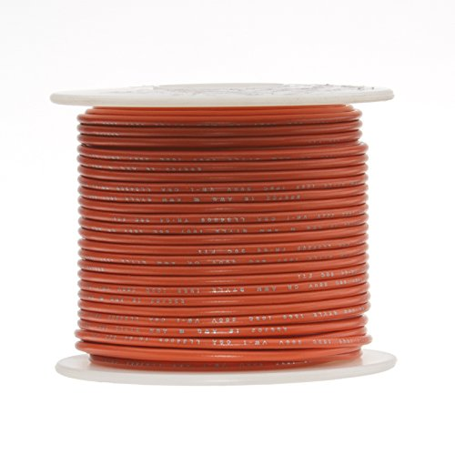 Remington Industries 18UL1007SLDORA 18 AWG Gauge Solid Hook Up Wire, 100 feet Length, Orange, 0.0403'' Diameter, UL1007, 300 Volts