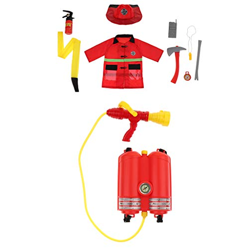 DYNWAVE 10-in-1 Kids Fireman Costume Kit for Toddlers, Boys and Girls with Complete Firefighter Accessories -