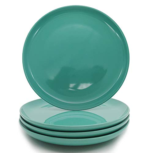 h Dinner Plate(set of 4), Stoneware Dinnerware Color Glaze (Teal Blue) ()