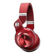 Bluedio T2 Plus Turbine Wireless Bluetooth Headphones with Microphone/Micro SD Card Slot/FM Radio, Red