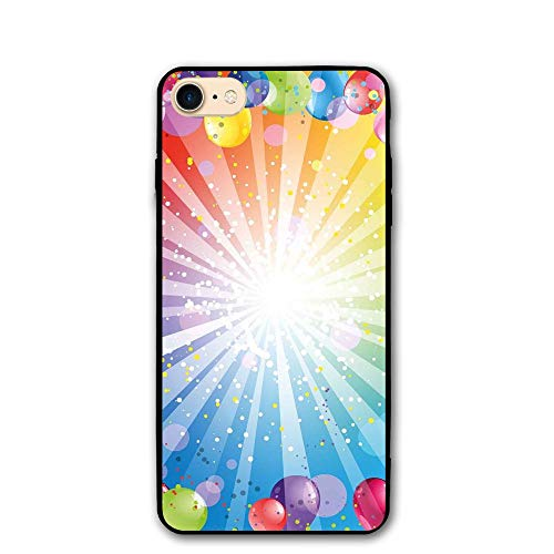 - Haixia iPhone 7/8 Protective Case Cover 4.7 inch Birthday Decorations Festive Striped Backdrop Balloons Dots Confetti Rain Celebration