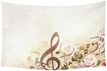 JTMOVING Tapestry Grunge Music Notes Rose Tapestries Wall Hanging Flower Psychedelic Tapestry Wall Hanging Indian Dorm Decor for Living Room Bedroom 60 X 40 Inch