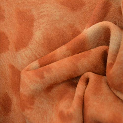 The Leather Guy - Fashion Leather Calf Hide 6 SqFt Airbrushed Orange Cheetah 2 oz Suede - N