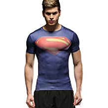 Red Plume Mens Compression Tights Fitness Shirt,Casual Quick-Dry Sports T-Shirt