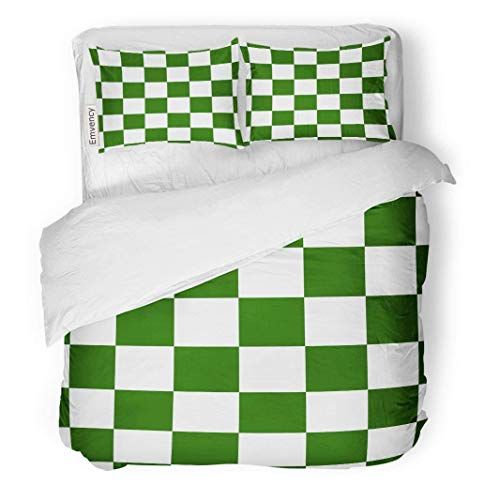 MIGAGA Decor Duvet Cover Set Full/Queen Size Chessboard Checker Board in Green and White Checkered for Chess Game Strategy Conce 3 Piece Brushed Microfiber Fabric Print Bedding Set Cover
