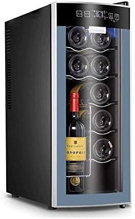 YFGQBCP 12 la Botella de Vino más Fresco Termostato electrónico, Acero Inoxidable Chiller Mostrador Rojo y Negro Bodega Autosoportados Frigorífico, Funcionamiento silencioso Nevera (Color : Blue)