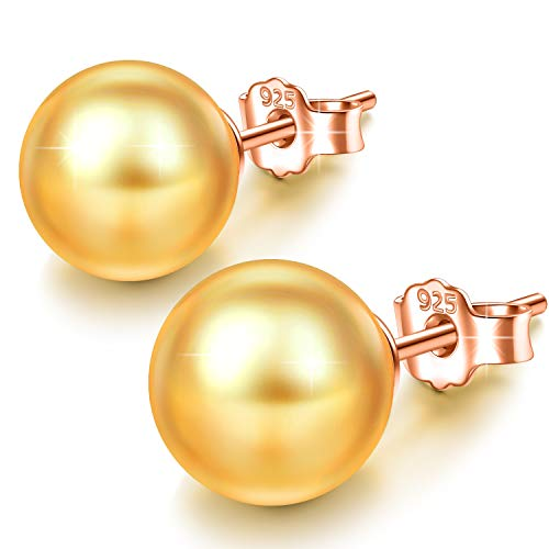 - J.NINA Silver Stud Earrings for Mothers Day with Swarovski Gold Pearls Ball Earring for Women Birthday Anniversary for Wife Girlfriend Teen Girls Sisters Niece Daughter Friends
