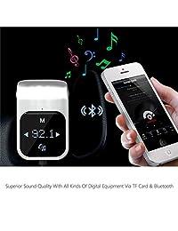Bluetooth Transmisor FM   Adaptador de transmisor de radio inalámbrico para automóvil, cargador de auto universal con puerto USB doble, reproductor de música compatible con tarjeta TF, manos libres (plateado)