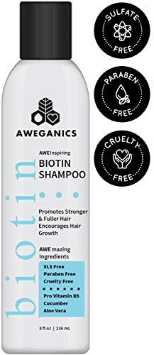Aweganics Biotin Hair Growth Shampoo, AWE Inspiring All Natural Thickening Shampoo for Hair Loss and Thinning Hair - SLS-Free, Paraben-Free, Cruelty-Free, Moisturizing B5 Vitamins, Cucumber, Aloe Vera
