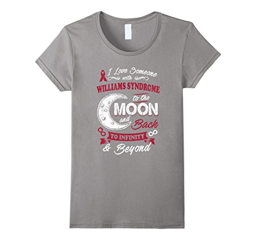 Womens Williams Syndrome Awareness Moon Back Love T Shirt Large Slate