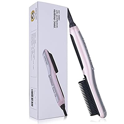 KINGDOMCARES New Year Gifts Straightener Brush Hair Straightening and Hair Curling PTC Fast Heating Electrical Ceramic Iron Comb Salon Heating Anti-Scald Anti-Burns Effective Easy Straightening