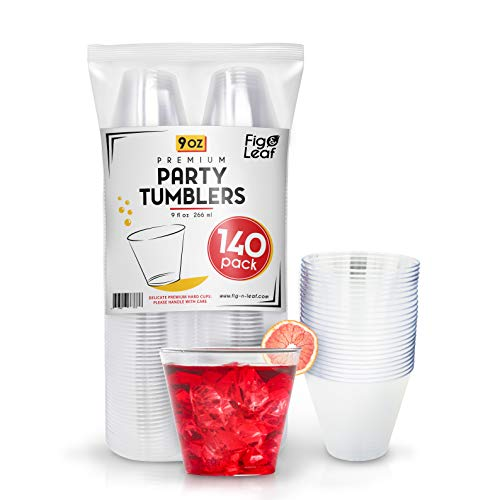 Fig & Leaf (140 Pack) - 9 OZ Clear Plastic Cups Premium Hard Plastic Party Cup l Old Fashioned Tumblers 9-Ounce l Sturdy Disposable Reusable Durable l Top Choice for Catering Wedding Birthday Event]()