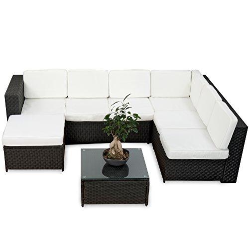 Rattan lounge schwarz  Amazon.de: 20tlg. Deluxe Lounge Garnitur Set Gruppe Polyrattan ...