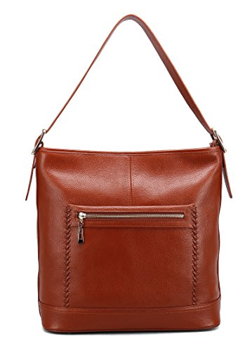 Geya Women's Leather Handbags Cross Body Bags Totes Top Handle Bag Satchel and Purse for Ladies Big Size with Zipper Closure (Brown)