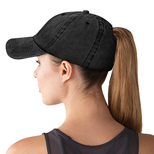 - Women Ponytail Baseball Cap Messy Bun Vintage Washed Distressed Twill Plain Hat