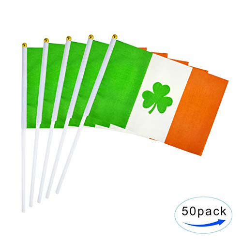 AuTop 50 Pack Ireland Shamrock Flag Small Mini Hand Held Irish St Patricks Clover Flags On Stick,Party Decorations Supplies for Saint Patrick's Day Theme Celebrations Events ()