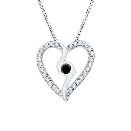 (Center Black and White Diamond Heart Pendant Necklace in 10K White Gold (1/6 cttw) (Color GH, Clarity I2-I3))