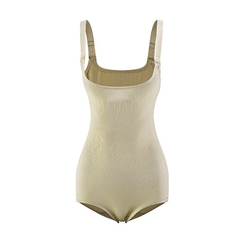 Amazingjoys Women's Open Bust Bodysuit Seamless Body Shaper Tummy Control Shapewear (Open Back Brief Beige, X-Large(Fits Waist29-32inch))