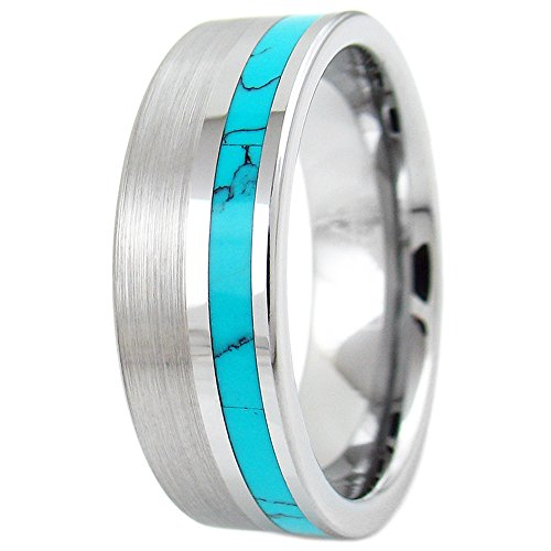 Blue Turquoise Inlay Ring - Refined 8mm Flat Band Brushed Finish Silver Tungsten Ring with Elegant Off-Center Blue Turquoise Inlay (tungsten (8mm), 10)