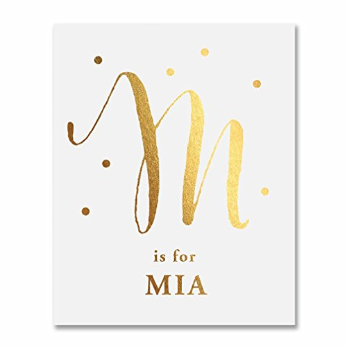 M is for Mia BABY MONOGRAM Gold Foil Print 8x10